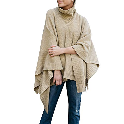 Price comparison product image Shybuy Women's High Collar Turtle Neck Batwing Irregular Poncho Cape Winter Knit Sweater Cloak