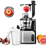 Slow Masticating Juicer Extractor, TOBOX 83mm (3.27inch) Wide Chute Cold Press Juicer with Quiet Motor and Reverse Function, High Nutrient Vegetable Juice and Fruit Jam