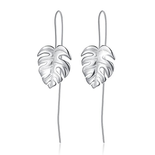 Lotus Fun S925 Sterling Silver Drop Earrings Monstera Leaves Dangle Earring for Women and Girls, Handmade Unique Jewelry Gift (Silver) (Feather Earrings Silver)