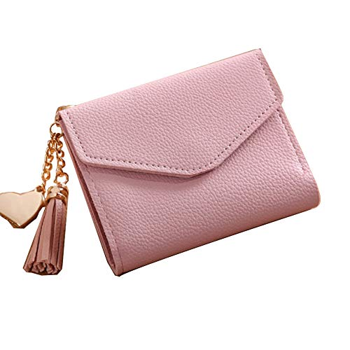 JewelryPal Small Leather Wallet for Women Girls Credit Card Holder Purse (Pink)