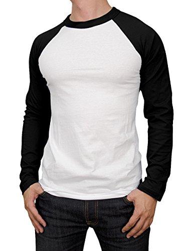 (Knocker Men's Cotton Full Raglan Sleeve Baseball Tee Shirt (XL, Black/White))