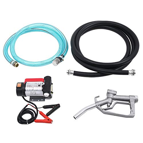 DEH 12V DC Bowser Oil Diesels Fuel Water Electric Bio-Diesels Auto Transfer Pump - red & Black & Silver