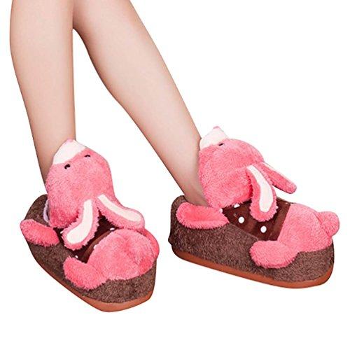 YOUJIA Unisex Adulto Invierno Zapatillas de Estar por Casa, Hogar Pantuflas Divertidas de Peluche con 3D Animales - Tamaño: 34-38 Conejo
