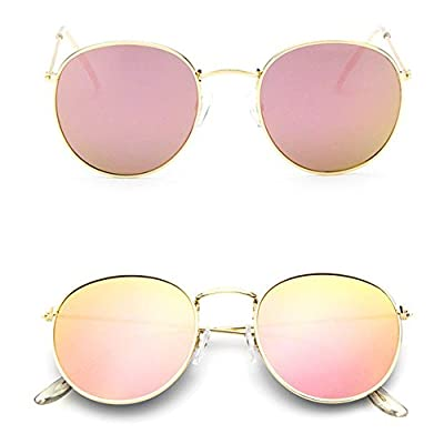 Men Women's Round Sunglasses Vintage Retro Oversized Mirror Glasses gold+pink