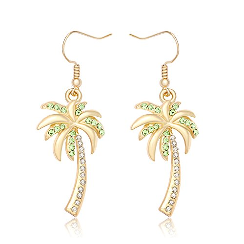 (MANZHEN Crystal Beach Palm Tree Dangle Earrings Tropical Jewelry for Women (gold))