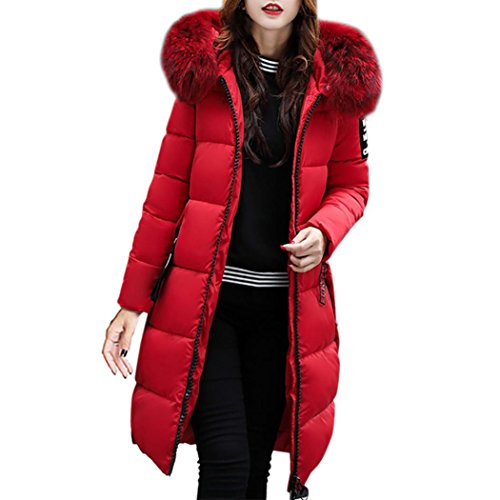 Forthery Women's Long Puffer Jacket with Plush Lined Fur Trim Hood Down Coats (Tag XXL= US XL, Red)