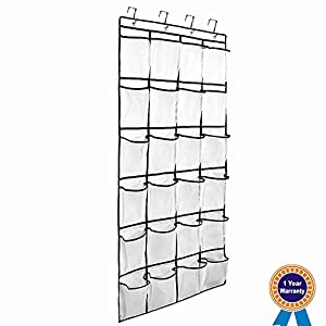 Large Size Over the Door Shoe Organizer, 24 Large Pockets Hanging Shoe Organizer with 4 Steel Hooks(White)