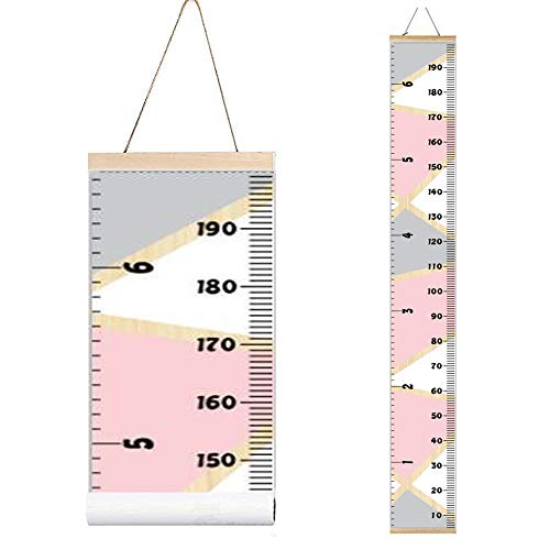 Miaro Kids Growth Chart, Wood Frame Fabric Canvas Height Measurement Ruler from Baby to Adult for Child's Room Decoration 7.9 x 79in (Pink & Grey)