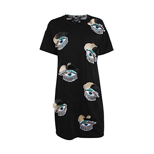 A 2018 Nuove LYQZCYJD Abito Corta Manica Donna Manica T Con Shirt Frange Lunga Da black qxBxSwUn