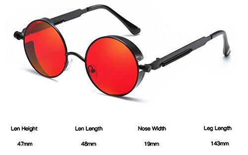 Lunettes soleil Noir UV400 en rondes de cadre lunettes steampunk steampunk vintage style Rouge métal Worclub dTqwEd
