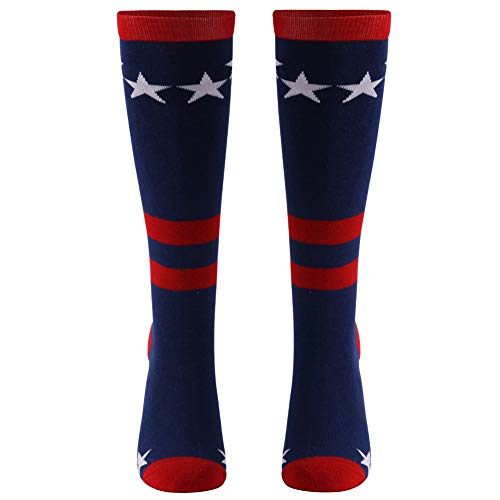 Patriot Stars and Stripes USA Flag, Gmall Fashion Over the Calf Dress Socks for Women and Men 1 Pair Blue ()