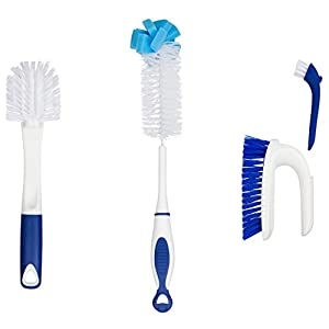 Kitchen Cleaning Tools Set – 3 Brushes Total – Bottle Brush – Pots and Pans Scrub and Scraper – 2 in 1 Sink and Surface Scrub Brush That Contains A Mini Detail Brush 41q6NYu7EiL