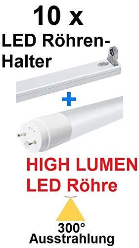 10 x 120 cm LED Tubes T8 / G13-18 watt - 300° Radiation - 2380 lumens - Daylight White/Cold White ~ 6000 Kelvin + 10 x LED Tube Holders White, Replaces 36 watt Fluorescent Tubes