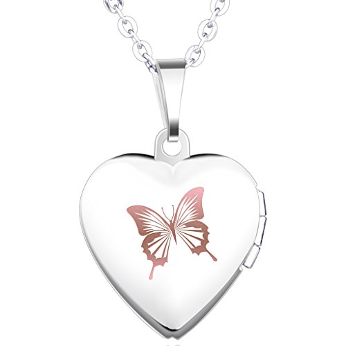Infinite U Engraving Butterfly Pink Open Heart Photo Locket Stainless Steel Pendant Necklace for Girls/Women (Enable to Engrave Your Own (Cute Indian Costumes For Girls)