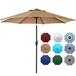 Garden and Outdoor Blissun 9′ Outdoor Market Patio Umbrella with Push Button Tilt and Crank, 8 Ribs (Tan) patio umbrellas