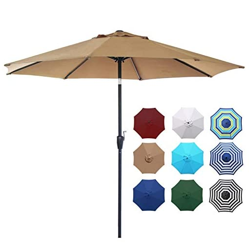 Garden and Outdoor Blissun 9′ Outdoor Aluminum Patio Umbrella, Market Striped Umbrella with Push Button Tilt and Crank patio umbrellas