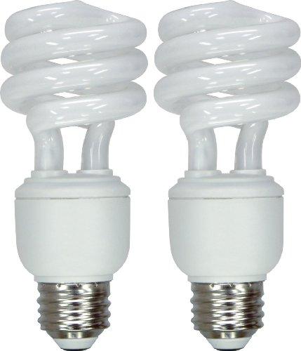 GE Lighting 64005 Energy Smart Spiral CFL 15-Watt (60-watt replacement) 900-Lumen T3 Spiral Light Bulb with Medium Base, 2-Pack
