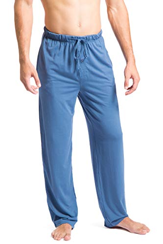 Fishers Finery Mens Casual Jersey Pajama Pant with Pockets Blue, L-Short