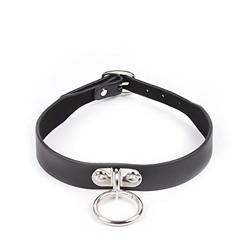 Adjustable Black Faux Leather Choker Necklaces with O-Ring (Black-1)