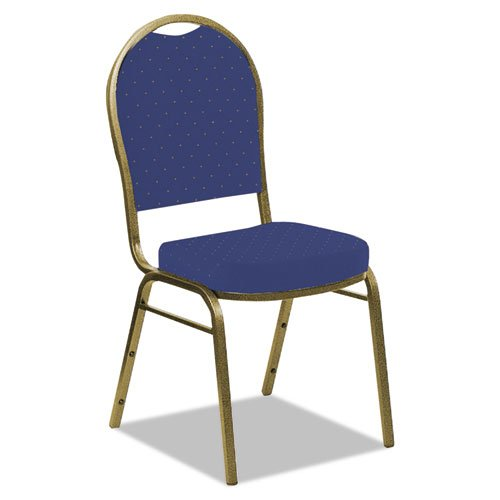 Iceberg 66233 Banquet Chair, Dome Back, Navy Blue Pattern, Gold Vein Frame, 4-Pack