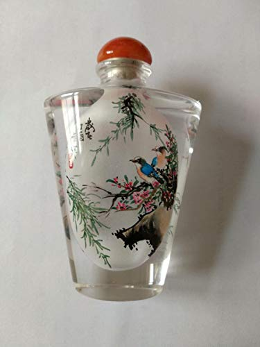 Lynnmed 2018 hot with Box Furniture Collections Home Decoration Inside Painted Snuff Bottle with Spoon Ear Pick Chinese Gift Chinese Style Traditional Hand-Painted Home Decoration