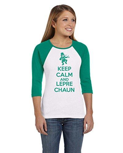 Crazy Dog TShirts - Womens Keep Calm and Leprechaun RAGLAN Saint Patricks Day T shirt - Sudaderas Para Mujer