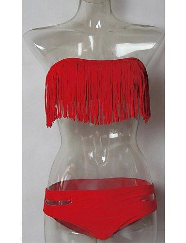 ZQ de las mujeres inalámbrico/SUJETADOR de acolchado borlas/Solid Top Bikinis (nailon/spandex), dark pink-l, medium pink-s