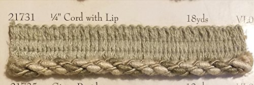 1/4'' Cord with Lip, Upholstery Pillows Drapery Bedding Home Decor Crafting, sold by the bold 6 yds (Taupe Grey) by FABRIC imperial*