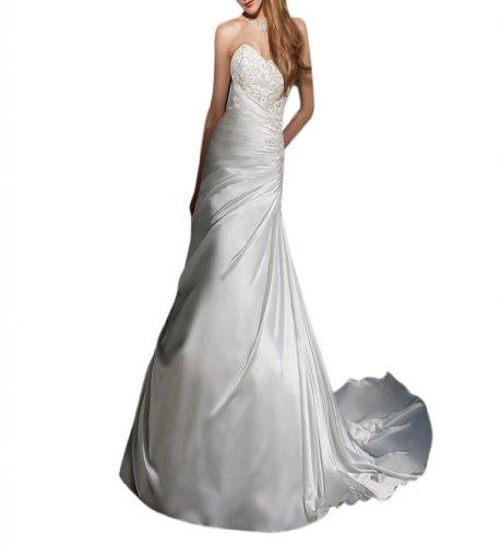Weiß Kleidungen Ausschnitt Brautkleider Schleppe Kathedrale Dearta A Linie Damen Satin Herz vznq0Xqw5x