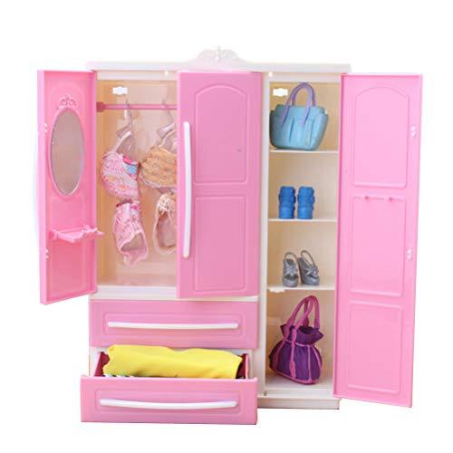 Sahgsa Doll closet Doll Closet Wardrobe Clothing Organizer doll clothes and accessories storage for kids birthday gift
