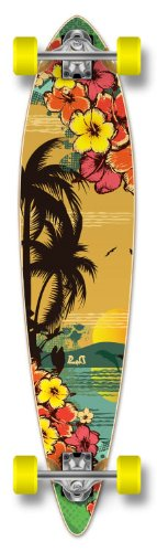 Yocaher Beach Series Complete Pintail Skateboards Longboard Cruiser w/Black Widow Premium 80A Grip Tape Aluminum Truck ABEC7 Bearing 70mm Skateboard Wheels (Complete - Pintail - 11 - Tropical Day)