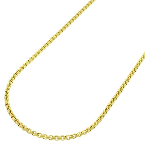 Box 10k Necklace Gold Venetian (10k Yellow Gold 1.5mm Round Box Link Necklace Chain 16