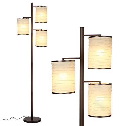 Brightech Liam - Asian Lantern Shade Tree LED Floor Lamp - Tall Free Standing Pole with 3 LED Light Bulbs - Contemporary Bright Reading Lamp for Living Room, Office - Bronze ()