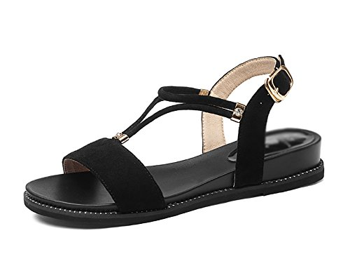 Sandals ZCJB Woman Summer Flat Bottom Word Buckle Vintage Roman Shoes Black