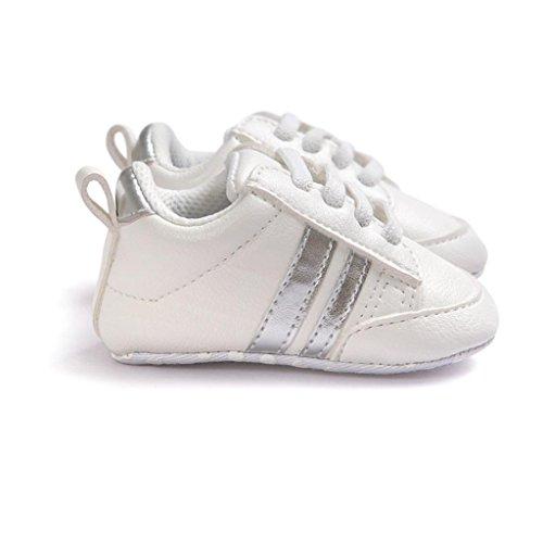 BZLine® Baby Anti-Rutsch Leder Sport Schuh für Kleinkind Jungen Sneaker Silber