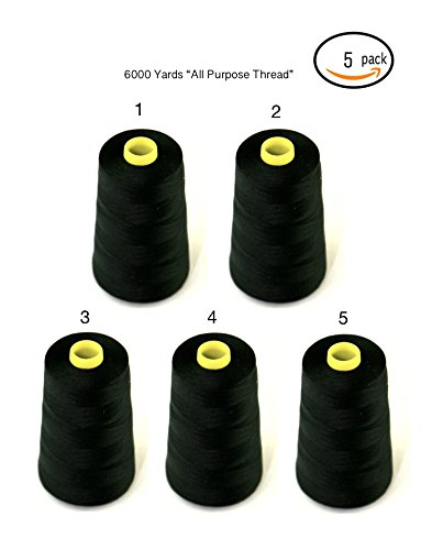 5-PACK of 6000 yards(EACH) quality sewing thread Cone Thread Polyester Spools Overlock (Serger,Over lock, Canvas , Drapery, Beading,) (30000 yards, black) Drapery Sewing
