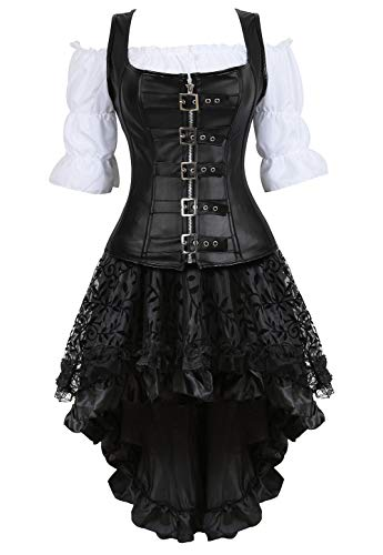 (Grebrafan Steampunk Leather Corset 3 Piece Outfits for Women Bustiers Skirt Blouse Set (US(12-14) 2XL, Black))