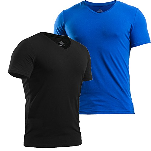 MUSCLE ALIVE Mens T Shirts Slim Fit V-Neck Soft Cotton Short Sleeve Athletic Muscle Tops Black and Blue 2 Packs Size - T-shirt Alive Mens