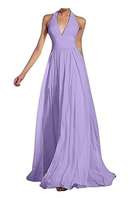 Kevins Bridal Deep V-Neck Halter Bridesmaid Dress Empire Waist Chiffon Formal Prom Dresses