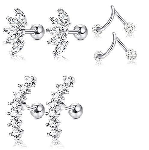 Twist Earrings - JOERICA 3 Pairs Stainless Steel Silver Ear Cartilage Earrings for Women Girls Tragus Helix Earring Cute Conch Flat Back Piercing Jewelry 16G