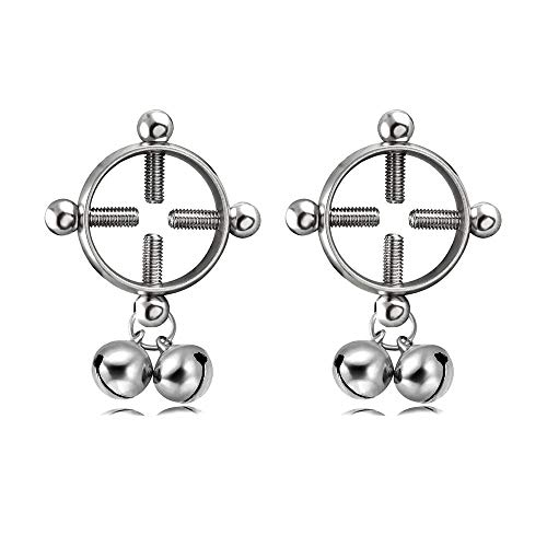 CrazyPiercing Body Piercing Rings, Adjustable Shield Rings with Bell, Surgical Steel Shields Screw Body Piercing Circle - Clamps Nipple