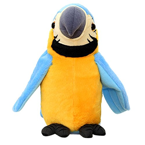 Homlifer Parrot Stuffed Plush Toy, Adorable Speak Talking Record Repeats Waving Wings Quality Bolster Soft Plush Material for Imaginative Play, Stocking, Birthday Party Supplies, Girls, Boys, Kids