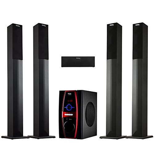 Frisby FS-6600BT 5.1 Channel Stereo Home Theater System w/ Tower Satellite Speakers & Bluetooth / USB / SD / AUX / Remote Control by Frisby
