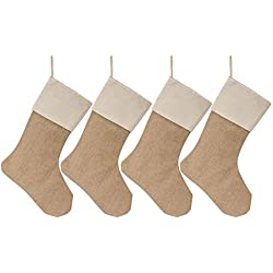 WeiVan Christmas Stocking Plain Burlap Stocking Christmas Decorum, Large