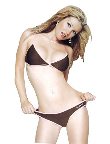 Coquette Microfiber Bikini Top and Panty for Women Small Brown