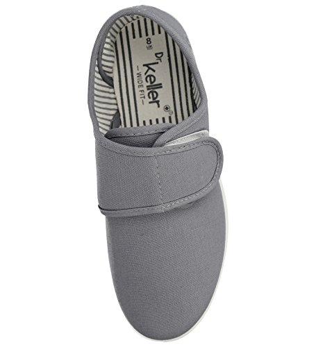 New Mens Dr Keller Canvas Casual Slip On Wide Fit Comfort Bar Deck Trainers Pumps Loafer Flats Shoes - UK Sizes 6-11 Grey V PqkKcE