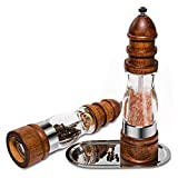 Salt & Pepper Grinder Set, Wooden Manual Pepper Mill Shakers with Ceramic Base and Adjustable Coarseness for BBQ Cooking