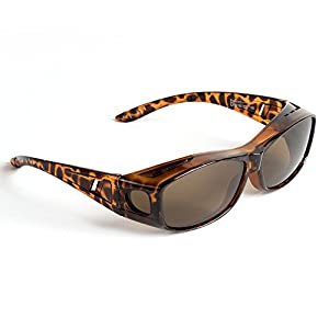 Over Glasses Sunglasses - Polarized Fitover Sunglasses with 100% UV Protection - Style 1 By Pointed Designs (Leopard)