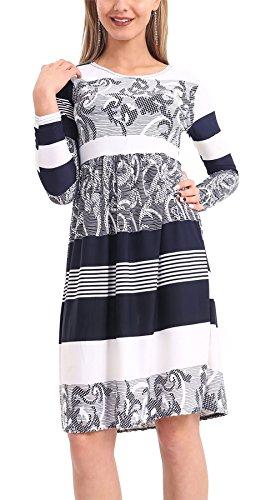Islander Fashions Damen Blumendruck Frankie Smoke Flared Swing Kleid Damen Langarm Fancy Party Kleid S / 3XL Abstract Navy TArza