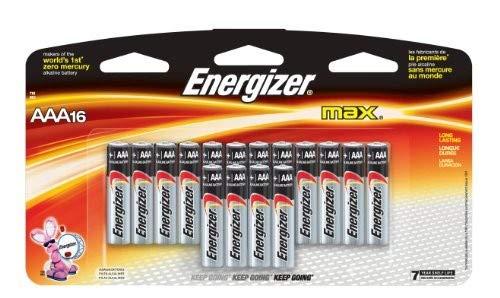 Energizer ENERGIZER-E92LP-16 Max AAA 1.5V Alkaline Button Top Batteries - 16 Piece